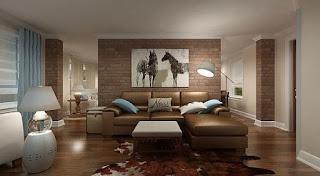 soggiorno con parete di accento con mattoni immagine