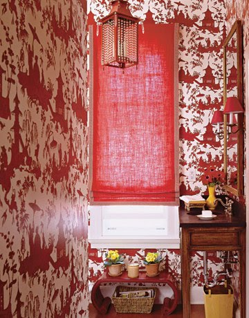 Red and white chinoiserie wallpaper can transform a bathroom above kate and andy spades bathroom from the selby just below ashley whittakers