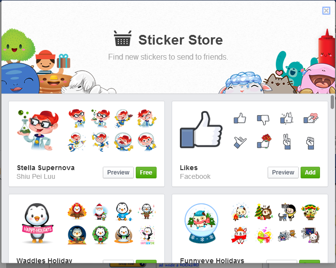 how to add more stickers and enhance facebook chat. Black Bedroom Furniture Sets. Home Design Ideas