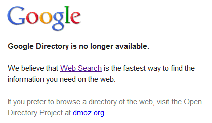 google directory rip Goodbye, Google Directory