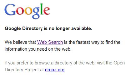 google directory rip Goodbye, Google Directory