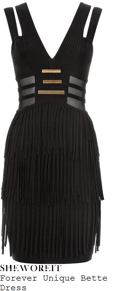 vanessa-white-black-sleeveless-v-neck-mesh-panel-fringed-dress-strictly-come-dancing