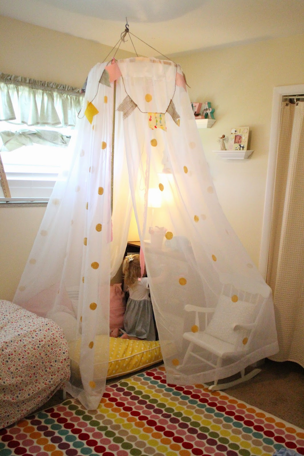 Mommy vignettes diy no sew tent canopy tutorial for How to create a canopy