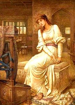 La Dama de Shalott John-melhuish-strudwick-eliane-en-la-dama-de-shalott-pintores-y-pinturas-juan-carlos-boveri