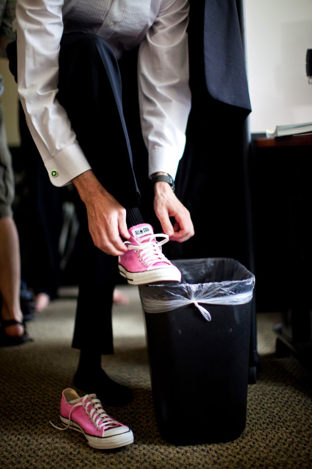 Pink Converse for the groom - Kent Buttars, Seattle Wedding Officiant