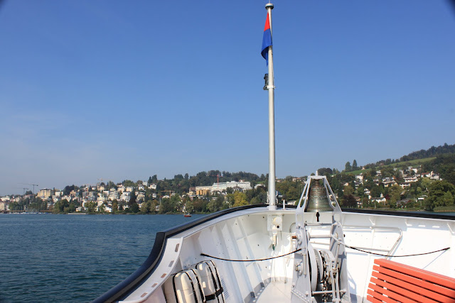 The front view of the ferry which is heading to the city of Lucerne in Switzerland
