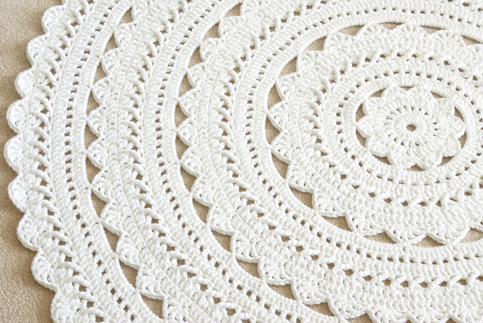 Handy Crafter Neutral Nursery With White Doily Rug