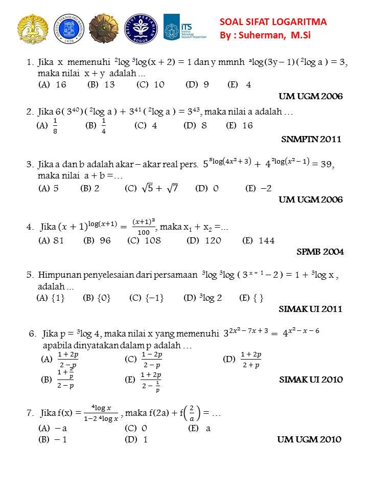 Soal Soal Snmptn Um Ugm Simak Ui Persamaan Logaritma 1000 Soal Matematika Uan Snmptn Simak Ui