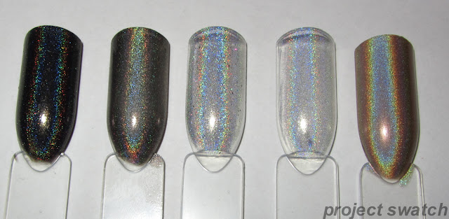 swatches - Jade Magia Negra, Layla Flash Black, Glitter Gal 707H, Starlight & Sparkles Starlight, China Glaze FYI