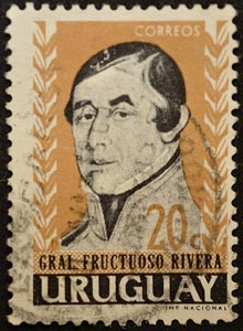 Sello de 20c, del General Fructuoso Rivera, Uruguay