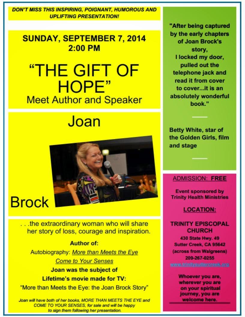 """""""The Gift of Hope"""": Meet Author/Speaker Joan Brock - Sun Sept 7"""