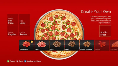 Pizza Hut Xbox 360 app, xbox, xbox live, pizza, food