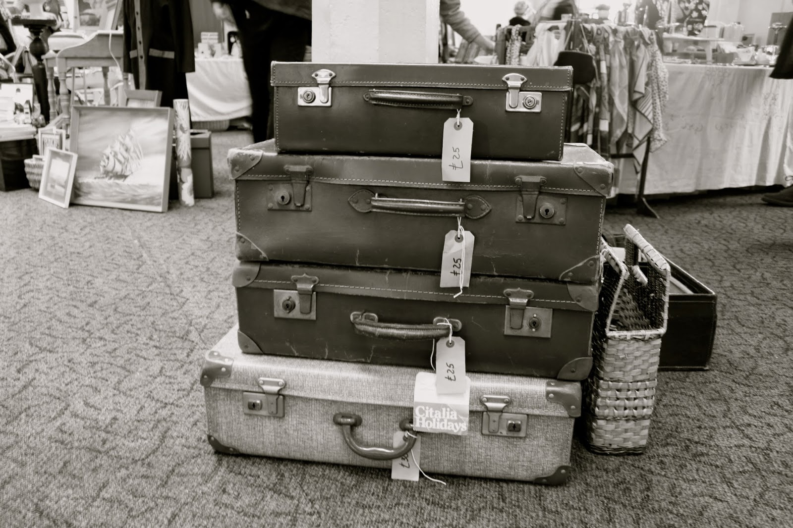 vintage fair, vintage suitcases