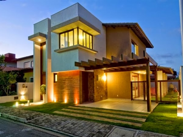 Fachadas de casas modernas com paisagismo e ilumina o for Fachadas de chalets modernos
