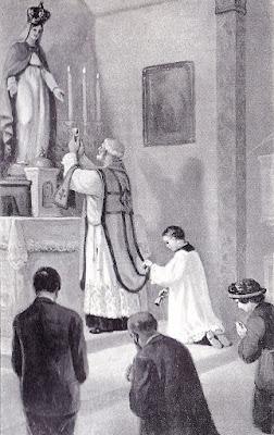 statue, religion. catholique, notre dame, prêtre. saintes espèces, paroissiens, chasuble, soutane