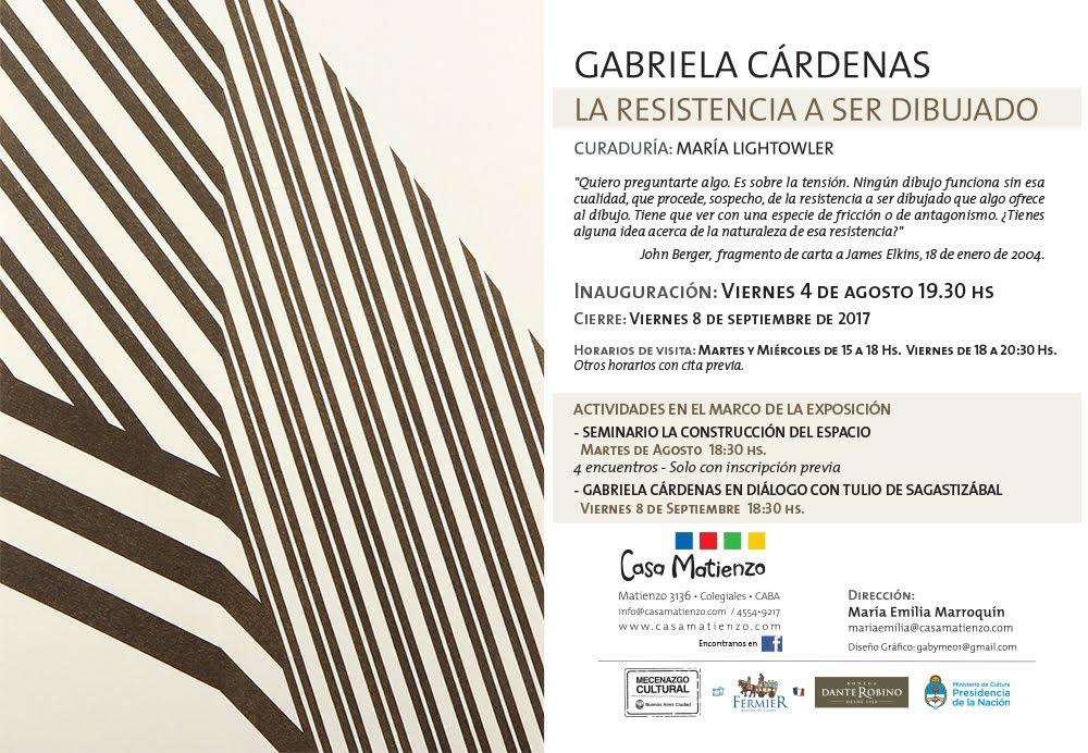 Muestra Actual: LA RESISTENCIA A SER DIBUJADO. GABRIELA CÁRDENAS