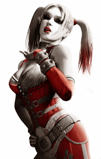 Harley Quinn artwork red black and white