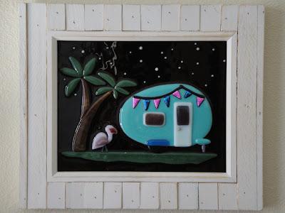 fused glass teardrop vintage trailer flamingo night stars camping glamping florida constellation palm tree