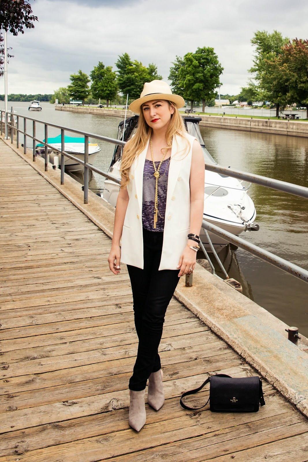 Panama Hat, J.Crew, outfit, DL1961, Kate spade