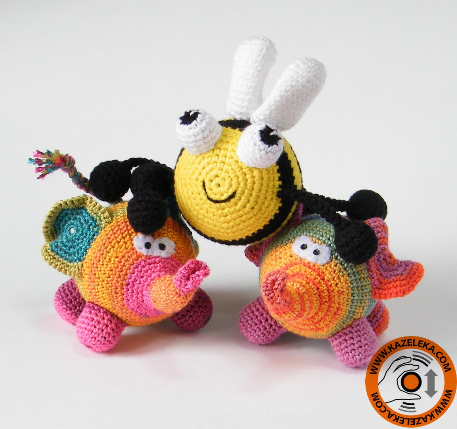 вязаные игрушки пчела и слон