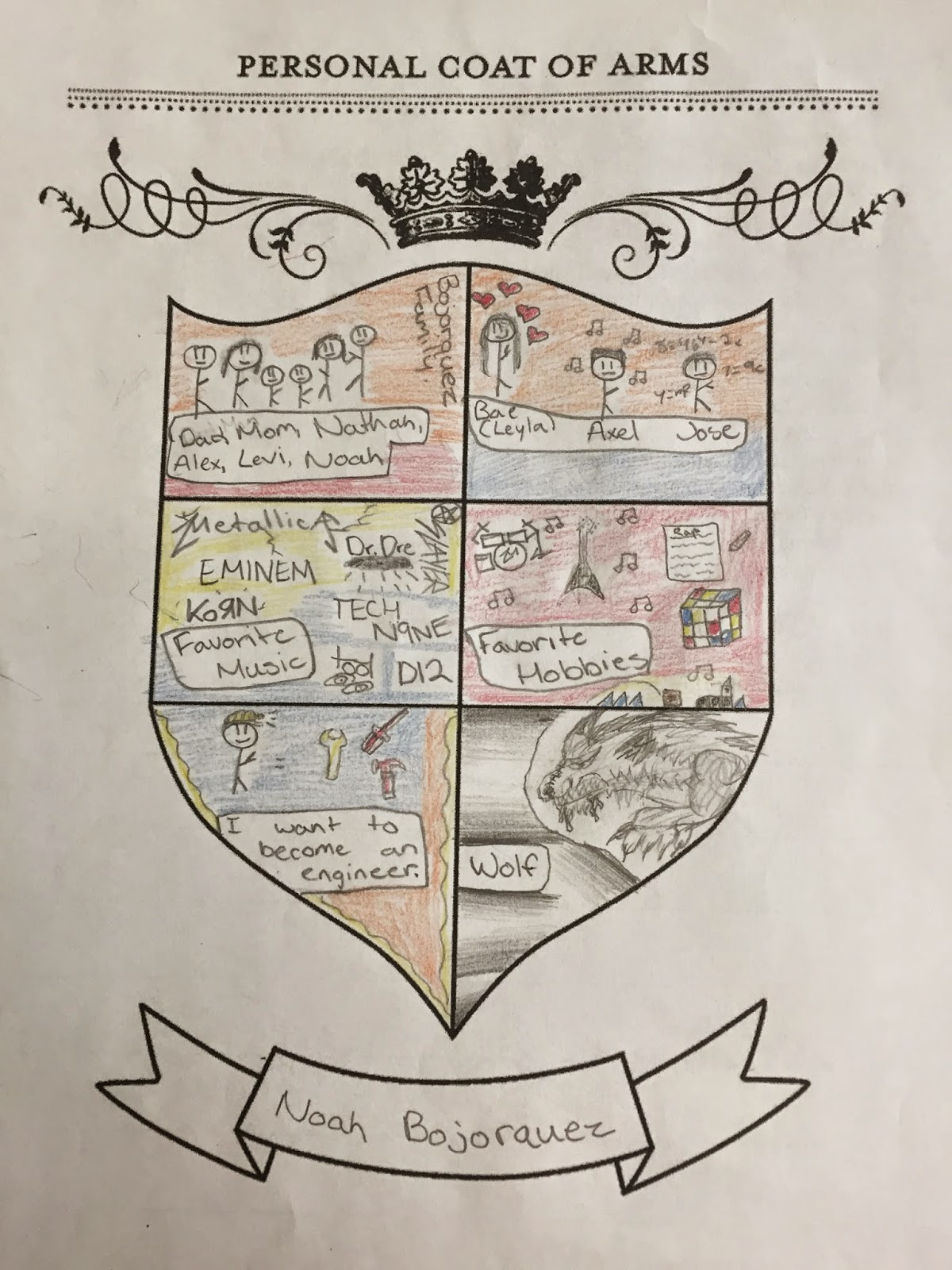 coat of arms project On the project, the actual coat of arms that the students create is worth 15 points (not including the write-up), for both the rough draft and the final (5 points.
