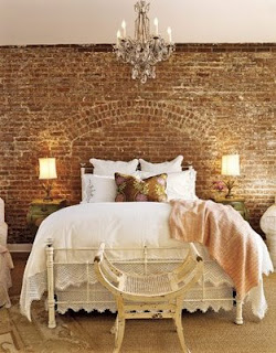 Okay, yes, it looks as if this wall was practically MADE for this bed  so  those of us who are fortunate to have an exposed brick wall in our home  probably ...