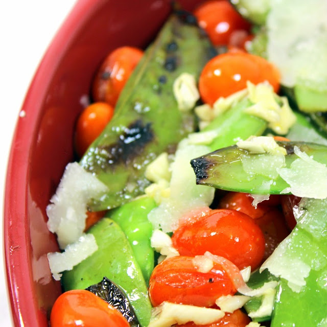 garlic snow peas, cherry tomatoes, parmesan and garlic - 52 side dishes from the grill