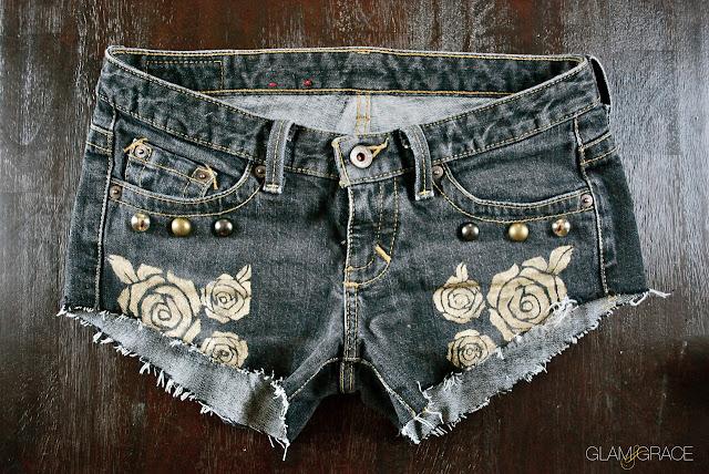 DIY Metallic Gold Floral Painted Denim Jeans