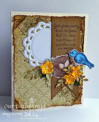 Our Daily Bread Designs, Spread Your Wings, Birds and Nest Die, Fancy Foliage Die, Designed by Amy Doria