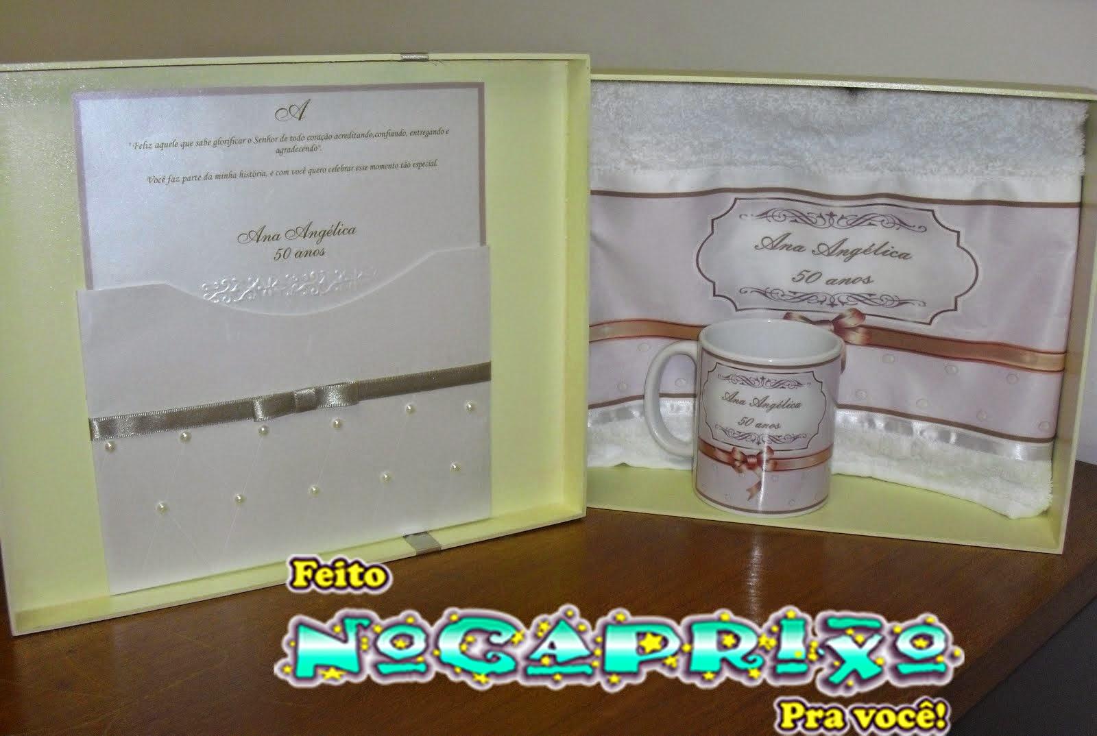 Caixa em MDF com Caneca e Toalha Personalizada