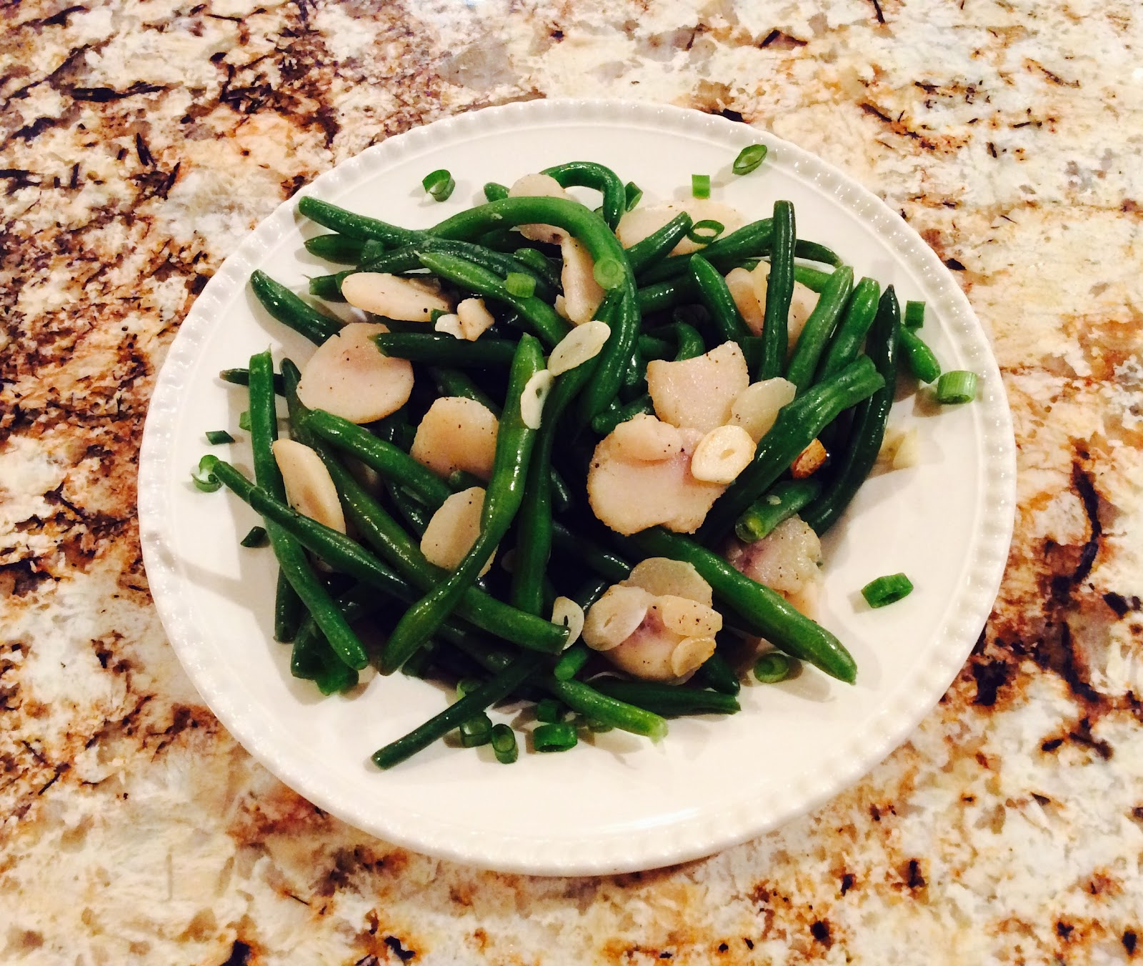 Sauteed Green Beans with Water Chestnuts and Sliced Garlic