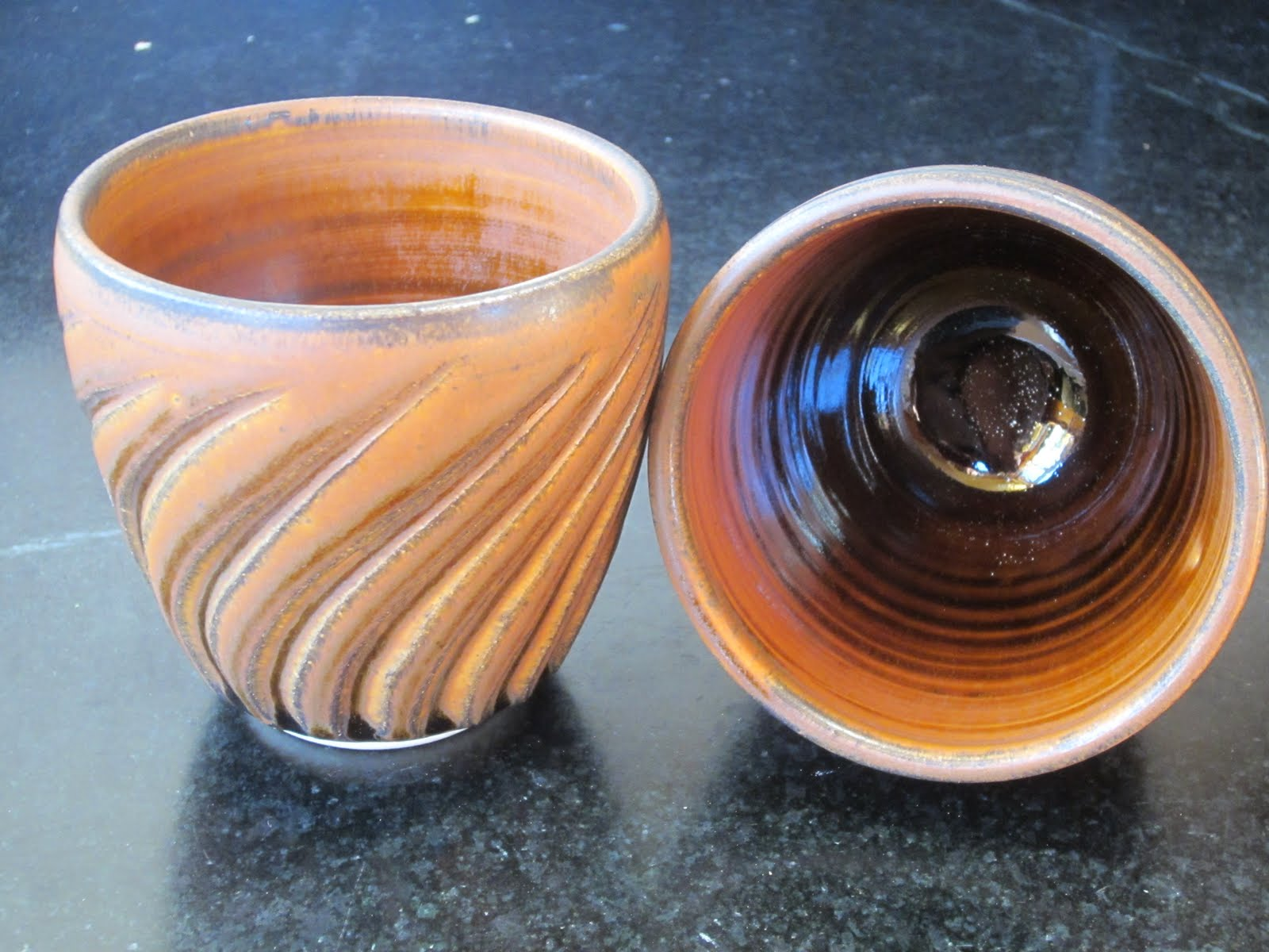 Amber Fluted Cups