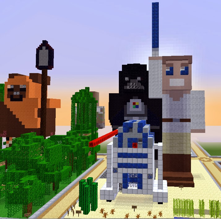 Star Wars Minecraft Builds: Ewok Village, Darth Vader, Luke Skywalker, and R2-D2 by TrulyBratiful