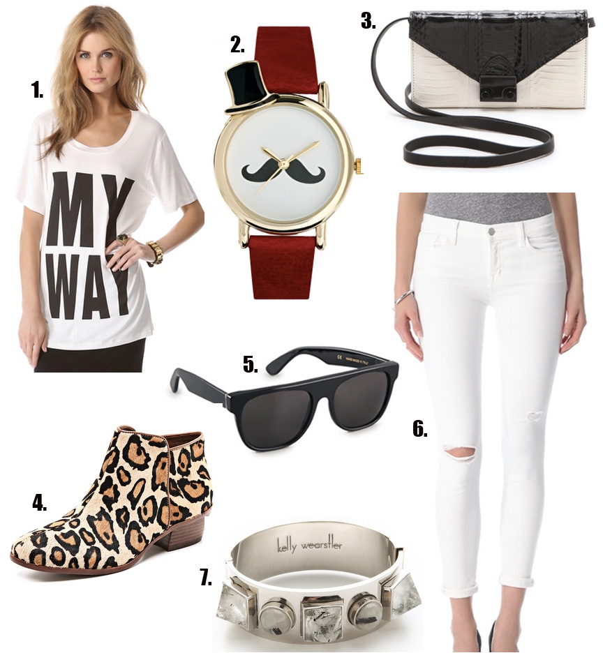 sam edelman cheetah boots, graphic tee, j brand jeans, white jeans, mustache, mustache watch, black and white clutch, style blog, fashion blog