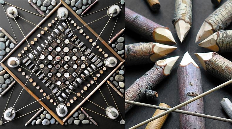 Artista transforma materiales encontrados en la naturaleza en detallados mosaicos mandalas