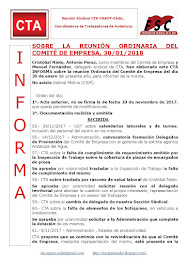 SOBRE LA REUNIÓN ORDINARIA DEL  COMITÉ DE EMPRESA, 30/01/2018