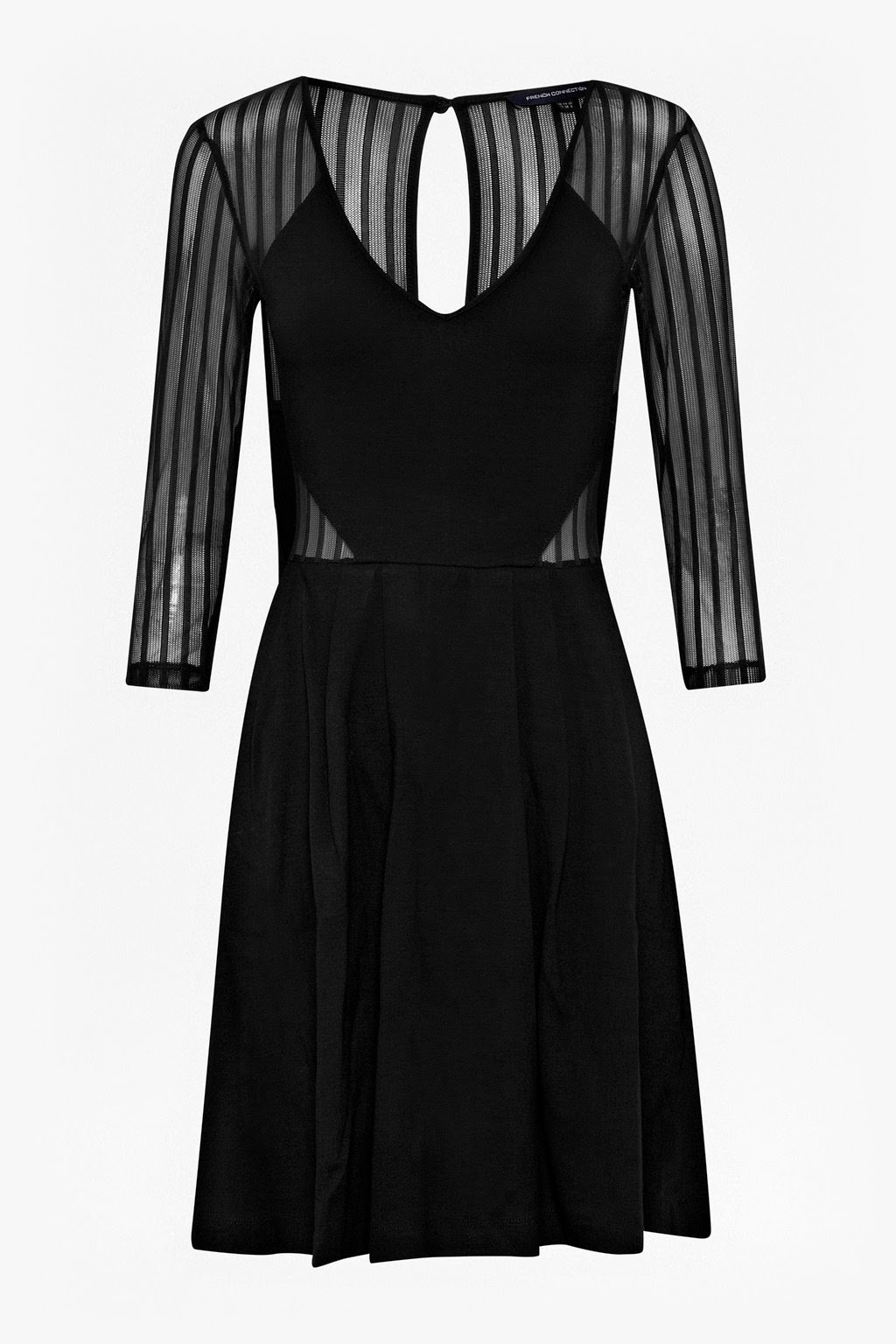 french connection black sheer dress, stripe sheer dress,