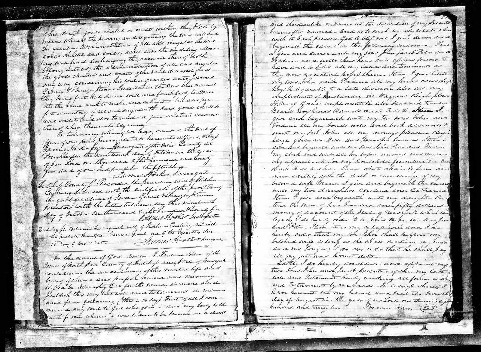 Ancestry Search Last Will And Testament Of Stephen Cushing