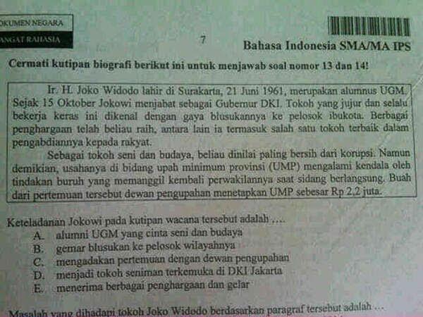 Jokowi Kampanye Hitam di Soal Ujian Nasional