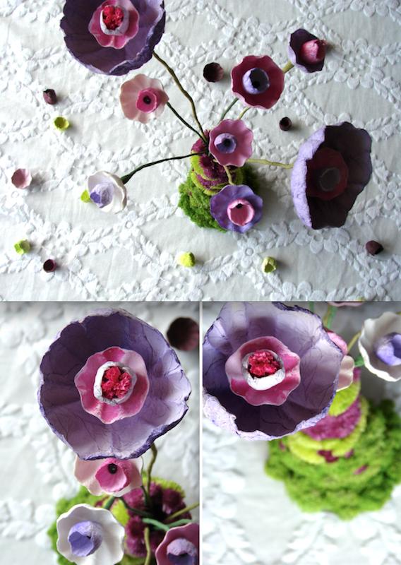 vaso di fiori in stile boho con fiori di carta colorati