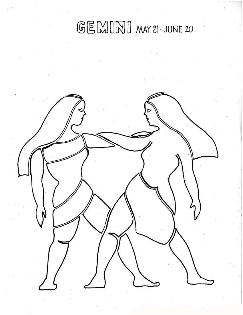 Gemini zodiac coloring pages for girls for Gemini coloring pages