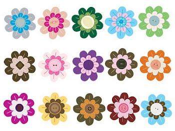 Modelos de flores de feltro.