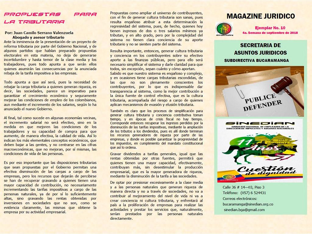 Magazine Jurídico Ejemplar No. 10 4a. Semana de septiembre de 2018