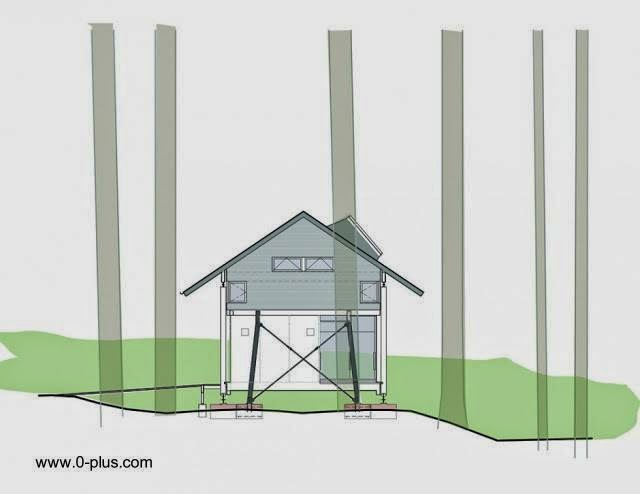 Plano de arquitectura cabaña en Estados Unidos