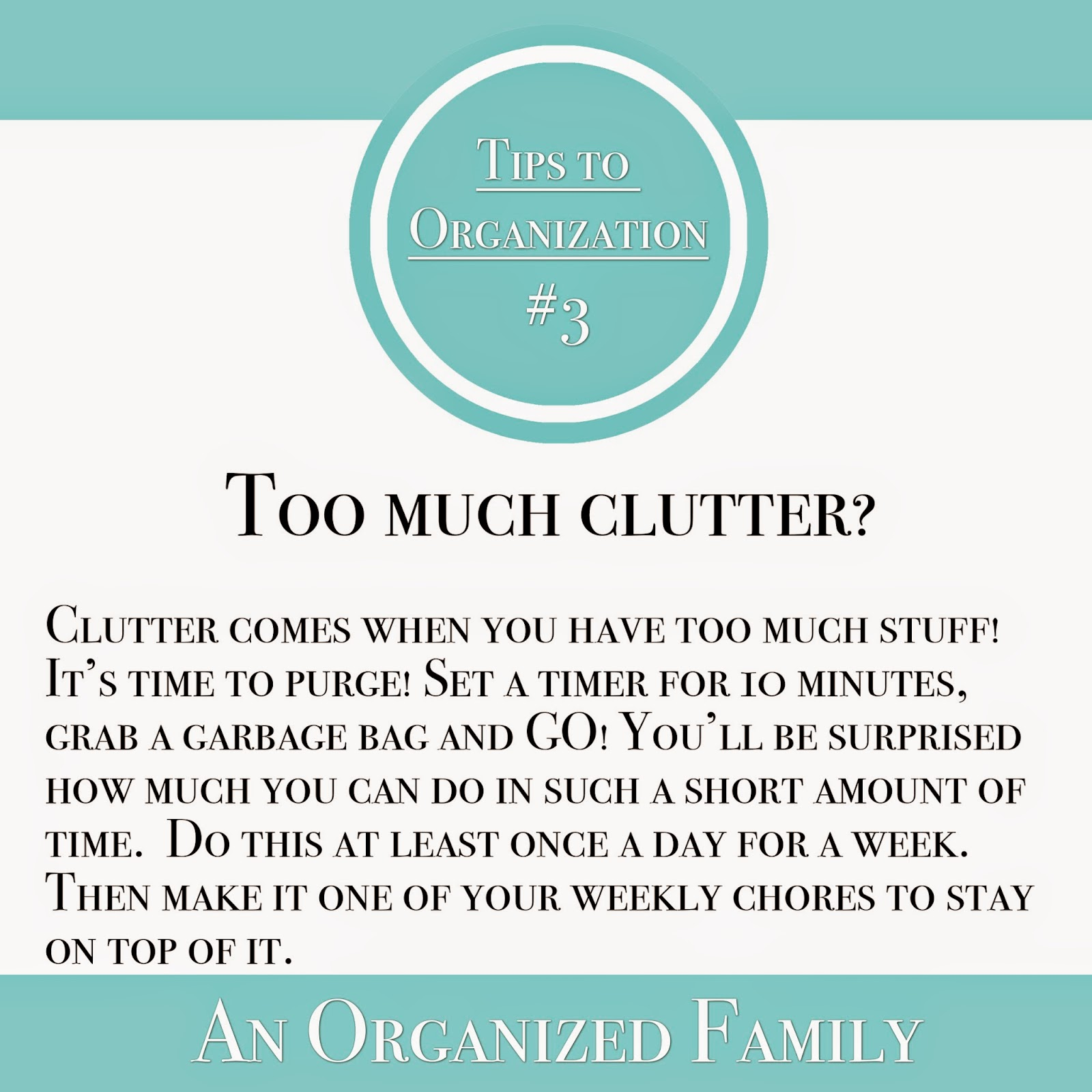 Tips to organization - too much clutter