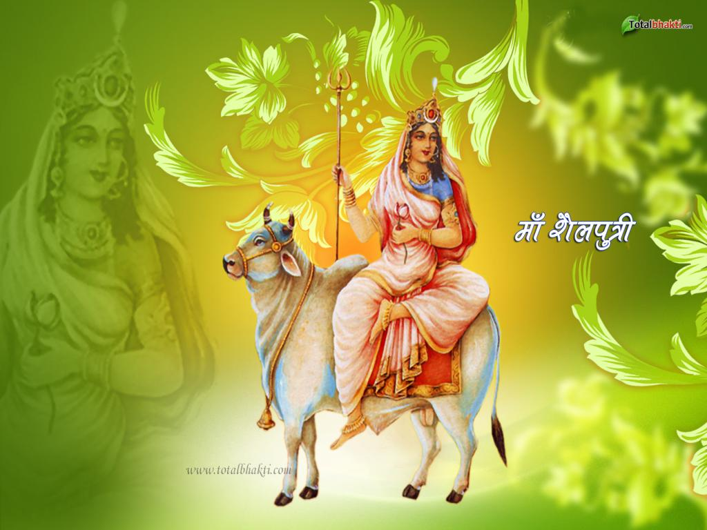 ... Maa Durga. Mounting on a bull, Maa Shailputri holds a trishul in the