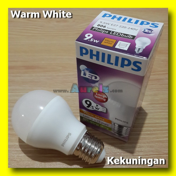 lampu led philips 9.5 watt warm white