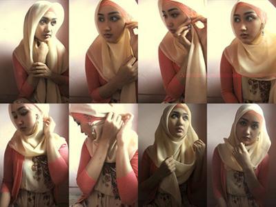 cara memakai jilbab paris segi empat terbaru