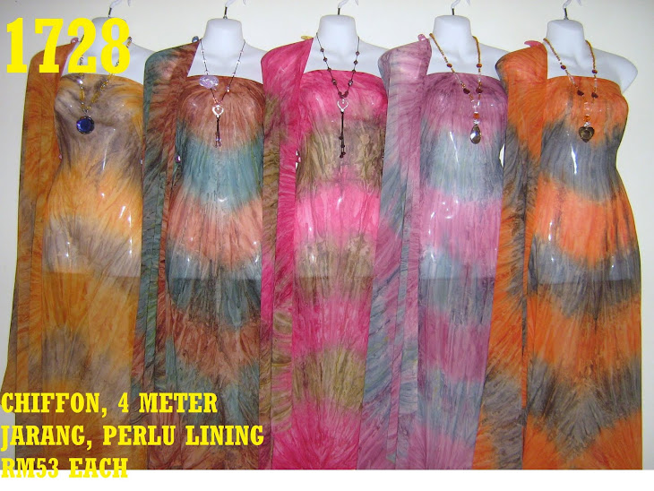 C 1728: CHIFFON, 4 METER, JARANG DAN PERLU LINING, 5 COLORS