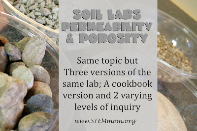 Soil Permeability and Porosity lab: 3 student versions from STEMmom.org